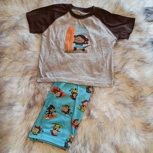 🌟3 for 15 Surfing Monkey Pajamas Sz 4T